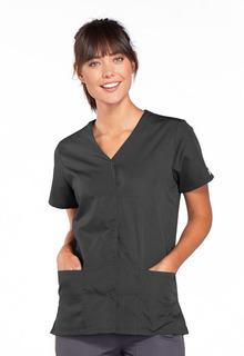 Workwear Ladies 3 Pocket Snap Front V-Neck Scrub Top - Originals 4770-Cherokee Workwear