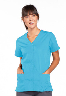 Snap Front V-Neck Top-Cherokee Workwear