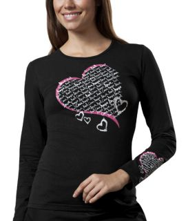 "Cherokee Workwear ""Healing Heart"" Long Sleeve Knit Tee Scrub Top-Cherokee Workwear"