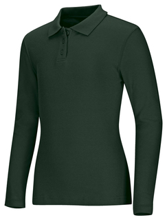 Girls Long Sleeve Fitted Interlock Polo-