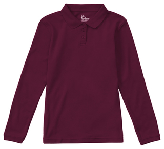 Classroom School Uniforms Juniors Hospitality Junior Long Sleeve Fitted Interlock Polo-Classroom Uniforms