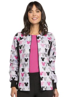 6315C Mickey Mouse Zip Front Knit Panel Warm-Up Print  Jacket - Mickey (MKMK)-Tooniforms