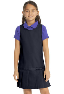 64232 Drop Waist Jumper w/Ribbon Bow-Real School Uniforms