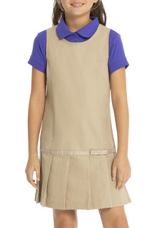 Drop Waist Jumper w/Ribbon Bow-Real School Uniforms