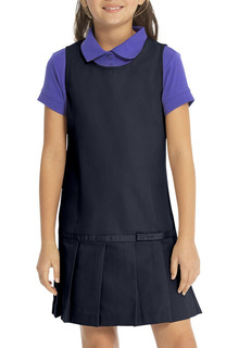 64233 Drop Waist Jumper w/Ribbon Bow-Real School Uniforms