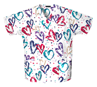 Valentine Print V-Neck 2 Pocket Scrub Top - 759 Heartbeat (HRTB)-Cherokee Medical