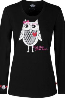"""Owl Steal Your Heart"" Underscrub Tee-Dickies Medical"