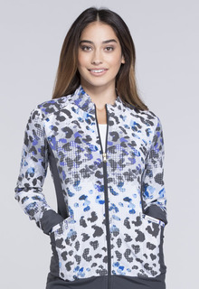 Prints - Flexibles Zip Front Knit Panel Jacket-Cherokee Medical