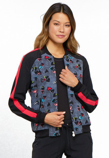 Valentine Infinity Zip Front Print Warm-up Jacket-Cherokee Medical