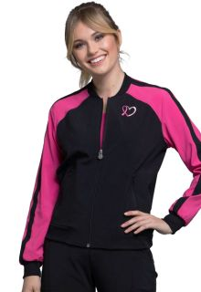 DEAL - Infinity Breast Cancer Awareness Zip Front Pink Trim Bomber Jacket - Antimicrobial-Cherokee Medical