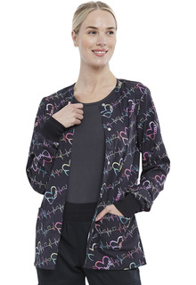 Snap Front Print Warm-up Jacket-Cherokee Medical