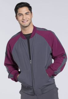 Mens Colorblock Zip Up Warm-Up Jacket-Cherokee Medical