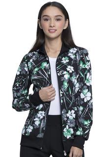 Z - COMING SOON - Infinity Zip Front Print Jacket-Cherokee Medical