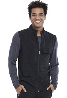 Mens Zip Front Cargo Vest-Cherokee Medical