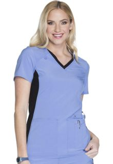 CK605 V-Neck Knit Panel Top-Cherokee Medical