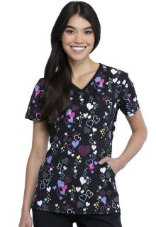 Valentine Infinity Print Mock Wrap Top-Cherokee Medical