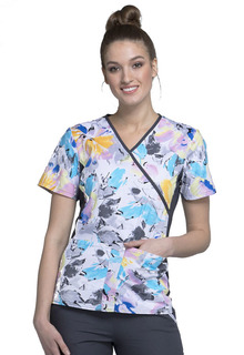CK610 Mock Wrap Knit Panel Top-Cherokee Medical