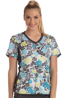 CK611 V-Neck Knit Panel Top-Cherokee Medical