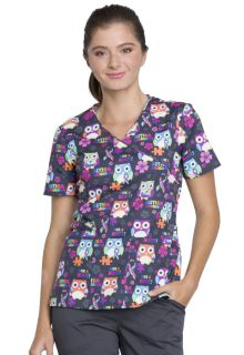 Print Mock Wrap Scrub Top - CK614-Cherokee Medical