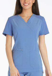 CK619 Mock Wrap Knit Panel Top-Cherokee Medical