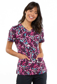 Print V-Neck 2 Pocket Scrub Top - CK621-Cherokee Medical