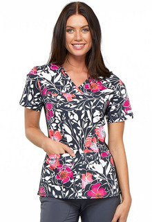 Prints - Flexibles V-Neck Knit Panel Print Top-Cherokee Medical