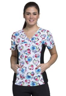 CK626 V-Neck Knit Panel Top-Cherokee Medical
