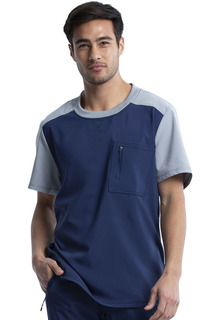 Mens Colorblock Crew Neck Top-Cherokee Medical
