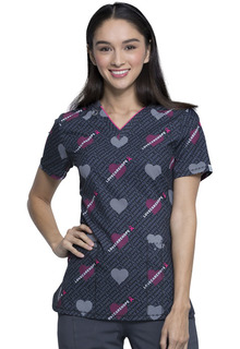 Valentine Infinity Print Top - CK634A-Cherokee Medical