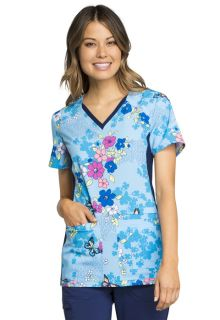 Cherokee V-Neck Knit Panel Scrub Top-