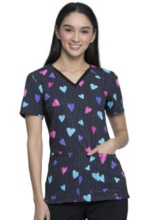 Valentine IFlex V-Neck Knit Panel Top-Cherokee Medical