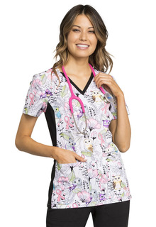 CK636 V-Neck Knit Panel Top-Cherokee Medical
