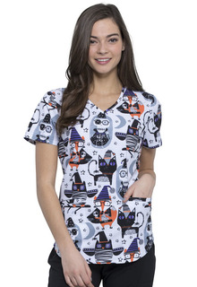 CK637 V-Neck Print Top-Cherokee Medical