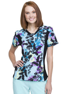 CK641 V-Neck Knit Panel Top-Cherokee Medical