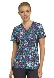 CK642 Mock Wrap Knit Panel Top-Cherokee Medical