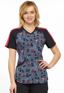 Valentine Infinity V-Neck Colorblock Top-Cherokee Medical