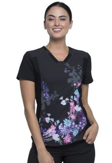 CK647 V-Neck Knit Panel Top-Cherokee Medical