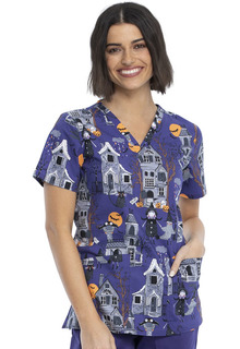 CK651 - Halloween Print Top by Cherokee-Cherokee Medical