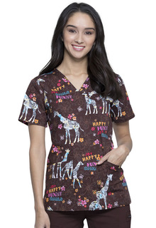 CK651 V-Neck Print Top-Cherokee Medical