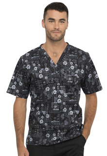 Cherokee Men's V-Neck Print Top - CK675-Cherokee Medical