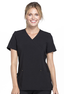 CK680 Mock Wrap Knit Panel Top-