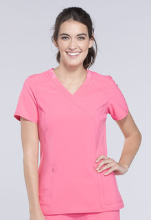 CK680 Mock Wrap Knit Panel Top-Cherokee Medical