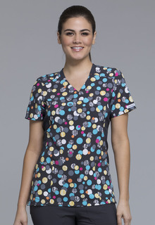 CK681 Mock Wrap Knit Panel Top-Cherokee Medical