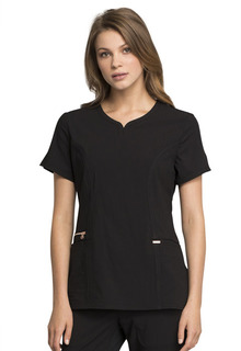 Ribbed V-Neck Top-Cherokee Medical