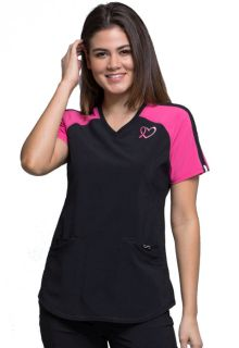 Cherokee Infinity Breast Cancer Awareness V-Neck Colorblock Scrub Top-Cherokee Medical