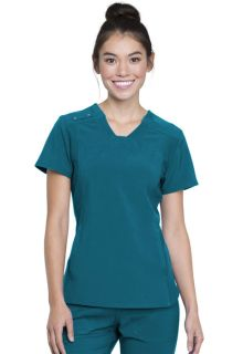 V-Neck Knit Panel Top-Cherokee Uniforms