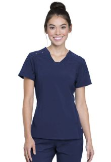 CK775 V-Neck Knit Panel Top-Cherokee Medical