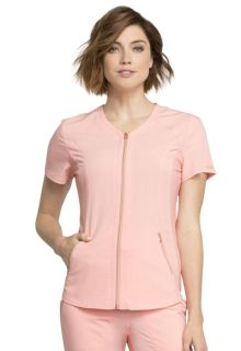 V-Neck Zip Front Top-
