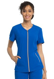 Cherokee V-Neck Zip Front Scrub Top-