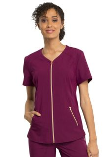V-Neck Zip Front Top-Cherokee Medical